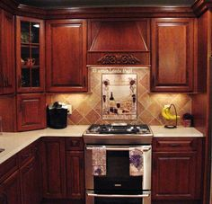 kitchen backsplash | Wall Tiles - Wine Country Kitchen Backsplash Tile Mural