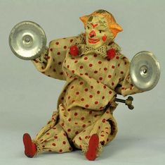 """1915 Leonhard Staudt """"Clown with Cymbals """" Antique Toys, Antique Prints, Vintage Toys, Toy Corner, Send In The Clowns, Tin Toys, Doll Accessories, Puppets, Board Games"""