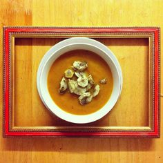 Roasted Butternut Squash Soup with Jerusalem Artichoke Chips #vegan
