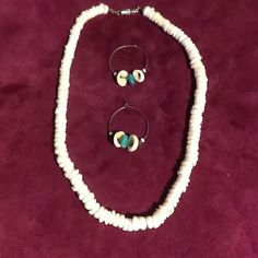 "1960's POOKA BEADS W/EARRINGS - NWOT White pooka bead choker necklace and hoop earrings - Never worn - Kowabunga, Dude!  Necklace 7 1/2"" long Vintage Jewelry Necklaces"