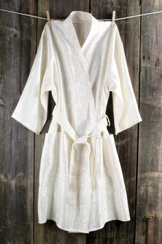 f5b3335ec5 For getting ready on the big day  Bath robe natural ivory women linen    viscose