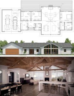 Floor Plan No garage Detached from house on right side New House Plans, Dream House Plans, Small House Plans, House Floor Plans, Three Bedroom House Plan, Luxury Homes Dream Houses, A Frame House, Solar House, Farmhouse Plans