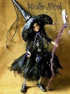 Halloween Witch child  -  OOAK handmade original by Studionicol