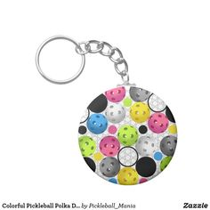 Colorful Pickleball Polka Dots - Keychain