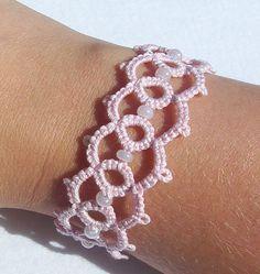 bracelet cuff bracelet tatted bracelet pink bracelet by MamaTats, $14.00
