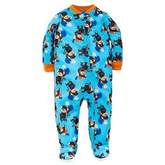 Little Me Baby Boys Monkey Baseball Zip Footie Pajamas Footed Sleeper Blue 18M