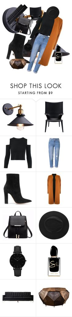 """winter"" by style4567 ❤ liked on Polyvore featuring WithChic, Gianvito Rossi, Warehouse, CLUSE and Giorgio Armani"