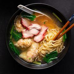 Wonton & BBQ Pork Noodle Soup – Marion's Kitchen – Apocalypse Now And Then Pork Noodle Soup, Wonton Noodle Soup, Wonton Noodles, Pork Noodles, Pork Soup, Noodle Soups, Chinese Bbq Pork, Asian Pork, Kitchen Recipes