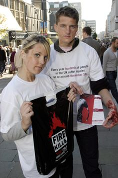 Brand Awareness Campaign - Fire Kills!!! Contact Field Marketing supply hit squads to raise awareness by talking to shoppers and giving out leaflets in high streets through out the UK, promotional staff have full prosthetic makeup applied to show how life changing scarring can be.