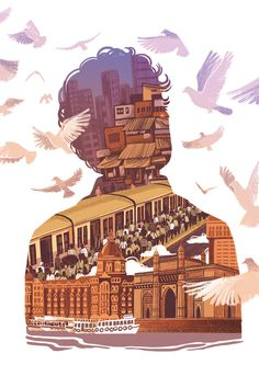 Editorial illustration for an article on Mumbai city written by Aakar Patel. Indian Illustration, City Illustration, Graphic Design Illustration, Digital Illustration, India Poster, Gfx Design, Bd Art, Mumbai City, Art Optical