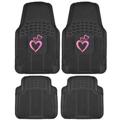 BDK Pink Hearts PVC Ridged Diamond Rubber Mats 4 Piece All Weather