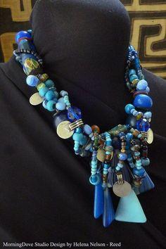beautiful blue tone chocker necklace