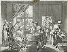 """""""Useful occupations: women's work, sewing, spinning, washing, ironing etc, illustration from Basedow's 'Elementary Work', 1770. Etching by Daniel Chodowiecki, LACMA Collections Online"""