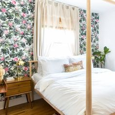 Sheer curtains for bedroom Bed Frame Design, Large Beds, Etagere Bookcase, Reading In Bed, Big Windows, Good Sleep, Common Area, Designer Wallpaper, Apartment Therapy
