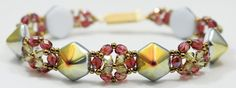 Deb Roberti's Cupola Bracelet pattern uses Czech 2-Hole Pyramid Beadstuds