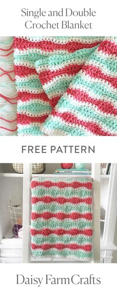 Crochet Iphone FREE PATTERN Single and Double Crochet Blanket by Daisy Farm Crafts - I'm too in love with this blanket to not share the pattern right away! Even though the blanket isn't finished,… Baby Girl Crochet Blanket, Crochet Blanket Patterns, Crochet Blankets, Baby Blankets, Crochet Afghans, Crochet Stitches, Knitting Patterns, Crochet Ripple, Afghan Patterns