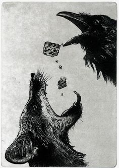 "Artwork by Larry Vienneau.  This reminded me of ""The Fox, the Crow and the Cookie"" by mewithoutYou.  One of my very favorite bands."