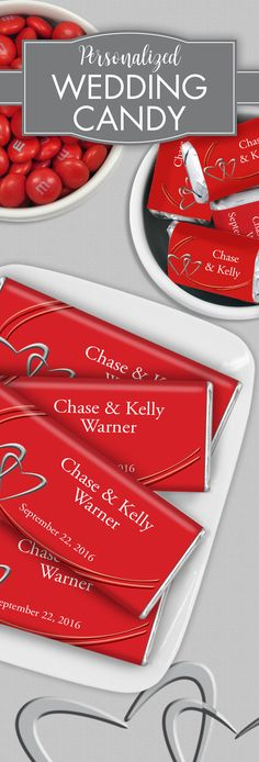 Your guests will be swept away with this romantic, minimalist wrapper design in beating-heart red.