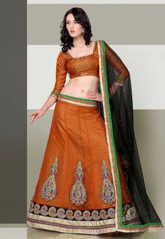 A pretty Orange & Black Color Cotton Net & Satin Designer Lehenga Choli embellished with stone work, resham embroidery and zari work
