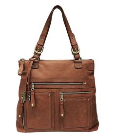 Look what I found on #zulily! Brown Cargo Fold-Over Leather Shoulder Bag by Lucky Brand #zulilyfinds