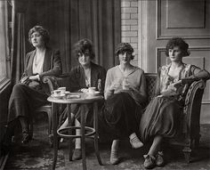 Four models from the Daily Mirror beauty contest having lunch at the Savoy Hotel, 1919, London
