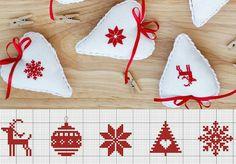 quilting like crazy Cross Stitch Christmas Ornaments, Xmas Cross Stitch, Cross Stitch Cards, Christmas Embroidery, Christmas Cross, Cross Stitching, Cross Stitch Embroidery, Embroidery Patterns, Cross Stitch Patterns