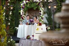 sweetheart table at Franciscan Gardens. Good idea to move altar to use for sh table