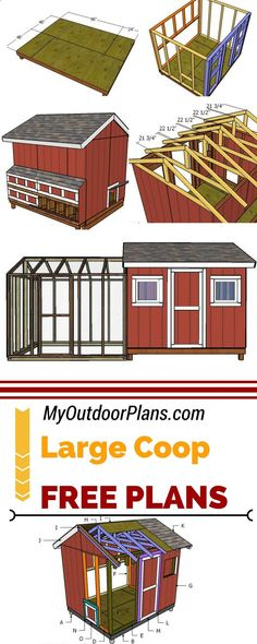 Chicken Coop - Learn how to build a large chicken coop so you can raise up to 20 chickens in your own backyard. I have designed these free large chicken coop shed with run chicken coop so you can have fresh eggs every day! 3diy myoutdoorplans.com Building a chicken coop does not have to be tricky nor does it have to set you back a ton of scratch.