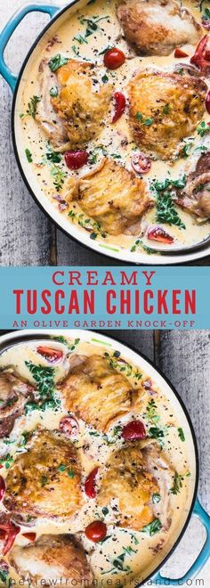 Creamy Tuscan Chicken Thighs is a 30 minute meal that the whole family goes craz… - Chicken recipes Dutch Oven Chicken Thighs, Chicken Thighs Dinner, Chicken Thigh Meals, Chicken Thights Recipes, Easy Chicken Recipes, Chicken Cutlet Recipes, Turkey Recipes, Dutch Oven Recipes, Cooking Recipes