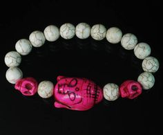 Hot Pink urquoise Buddhist Buddha Head Skulls White Ball Beads Stretch Bracelet