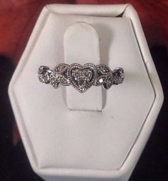 Beautiful 10 Karat White Gold and Diamond Heart Ring Wedding BandSOLD at Gadgets And Gold