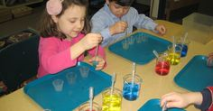 In Kindergarten science class, students used primary colors to create a multitude of colors with beakers and pipettes as part of our chemist...