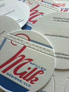 Spilled Milk Designs – Business card, printed on letterpress in two colors, with blind deboss and circular die cut. Round Business Cards, Business Card Maker, Unique Business Cards, Business Card Design, Creative Business, Letterpress Business Cards, Letterpress Printing, Creative Circle, Branding