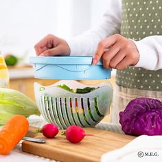 Type: Shredders and Slicers Plastic Type: PP. Fruit & and Vegetable Chopper bowl. Size : * * 4 inches (approximately) Make your salad in 60 seconds. Wash salad right in the bowl Color: White, Green. Capacity: about a quart. How To Wash Vegetables, Fresh Fruits And Vegetables, Salad Dishes, Salad Bowls, Salad Chopper Bowl, Food Chopper, Creative Kitchen, Salad Maker, Vegetable Chopper