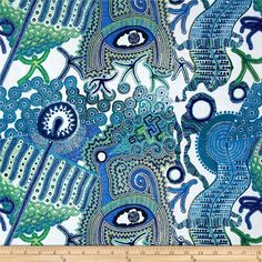 Abstract Fabric by the Yard, Quilt, Cotton, Quilt, Novelty, Egyptian, Eye, Ra, Embroidered, Large Print, Art, Blue, Green, White, Decor by BirdOnABough on Etsy