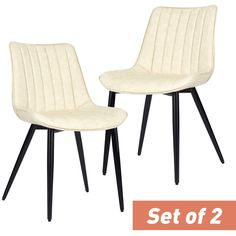 EROMMY Faux Leather Dining Chairs Set of 2 Mid Century Modern Leisure Upholstered Chair with Metal Legs for Kitchen Living Room Beige - Walmart.com - Walmart.com Faux Leather Dining Chairs, Black Dining Chairs, Metal Chairs, Dining Chair Set, Living Room Grey, Living Room Kitchen, Rustic Dining Table Set, Modern Media Cabinets, Dining Room Inspiration