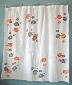 Orange And Gray Shower Curtain