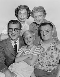 Dennis the Menace is a television series based on the Hank Ketcham comic strip of the same name. The show, originally sponsored by Kellogg's cereals and Best Foods (Skippy Peanut Butter), aired from 1959 to 1963 on CBS and stars Jay North as Dennis Mitchell; Herbert Anderson as his father, Henry; Gloria Henry as his mother, Alice; Joseph Kearns as George Wilson, Gale Gordon as John Wilson, and Sylvia Field as Martha Wilson. This was one of my favorite TV shows when I was growing up.