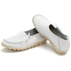 Butterflyknot Breathable Soft Lace Slip On Soft Pierced Flat Loafers
