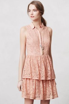 Anthropologie Tiered Lace Shirtdress Sz L Nude Pink Lace Dress The Addison Story #TheAddisonStory #FitFlareShirtDressTeaDress #Casual