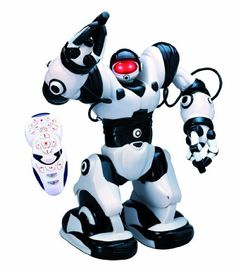 """WowWee Robosapien Humanoid Toy Robot with Remote Control by WowWee. $244.36. Fluid motions and gestures fast dynamic 2-speed walking and turning. 4 programming modes. 6 different kung fu moves. Robosapien is a sophisticated fusion of technology and personality. Robosapien is programmable to """"react"""" to touch, pick up, kicks or sound. Amazon.com                Designed by a robotics physicist who worked at NASA, the hulking Robosapien looks like a Star Wars stormtroop..."""
