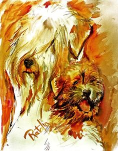 Soft Coated Wheaten Terrier watercolor dog print signed by ratafia