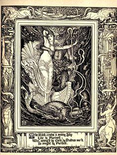 "thefugitivesaint:  ""Walter Crane (1845-1915), ""Spenser's Faerie Queene"", ed. by Thomas J. Wise, 1895  Source: https://archive.org/details/spensersfaeriequ03spenuoft  """