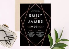 A trendy Art-Deco 1920s themed wedding invitation with a rose-gold coloured geometric pattern. Featuring modern, contemporary style names. Sign, seal and deliver your wedding theme with The Apollo. A timeless black background oozes class, finished with stylish contemporary geo pattern.  ♡ Purchase a SAMPLE: https://www.etsy.com/uk/listing/502906530/printable-wedding-invitation-set  ♡ Purchase a PRINTABLE suite: https://www.etsy.com/uk/listing...
