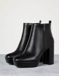 Wide heel platform ankle boots - View All - Bershka Romania