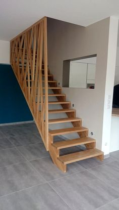 Escalier Et Garde Corps Stairs House Stairs Interior Basement Stairs, House Stairs, Basement Ideas, Railing Design, Staircase Design, Staircase Railings, Double Staircase, Modern Stairs, Attic Renovation