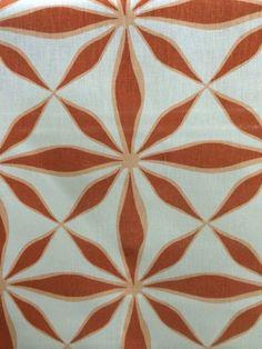Gorgeous White Linen Fabric with Orange Flower Burst 12 Yards   eBay