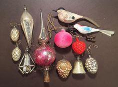 Unikt tillfälle! 12 stycken gamla julgransprydnader i glas från 1910-talet.
