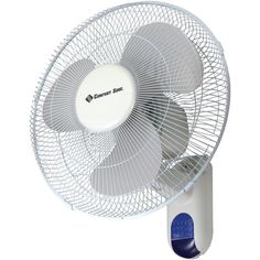 """New Arrival: Comfort Zone 16"""" Wall-mount Fan - 3 speed settings 13"""" pull control cords Full-function remote control Adjustable tilt Safety grille White"""