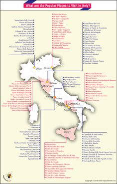 Italy is a country rich in history and its every city is a showcase on architecture, culture, art, sculpture etc. Find a map of Italy with popular places to visit marked in it